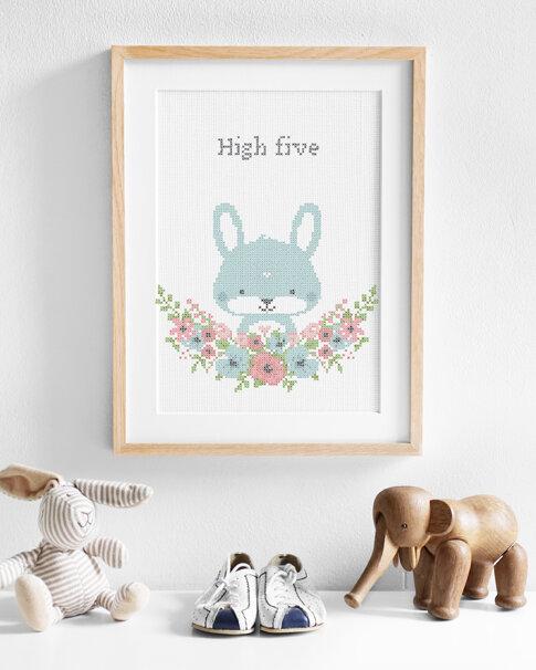 Embroidery kit Aida Flower friends Bunny