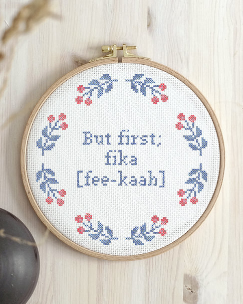 Embroidery kit Aida – But first; fika