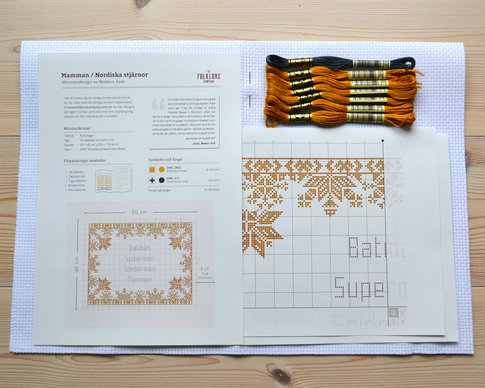 Embroidery kit Mamman / Nordiska stjärnor (Swedish) - Aida