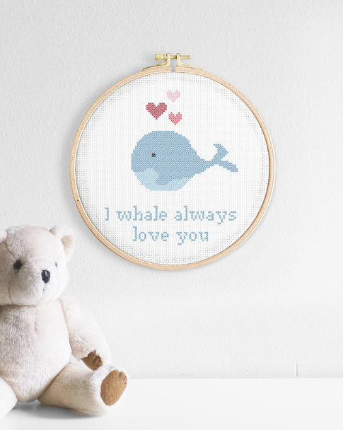 Embroidery kit Aida – Oh, whale
