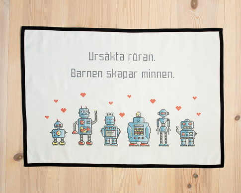 Ursäkta röran / We are the robots - Embroidery kit Aida