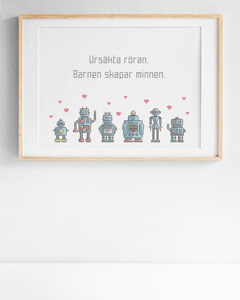 Ursäkta röran / We are the robots - Embroidery kit Aida
