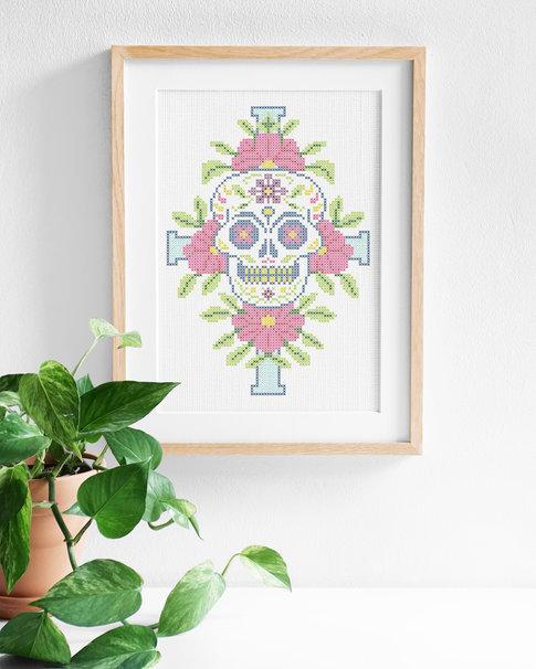 Embroidery kit Aida - Sugar skull
