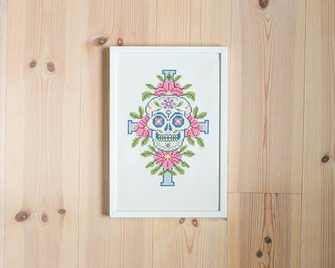 Sugar skull - Embroidery kit Aida