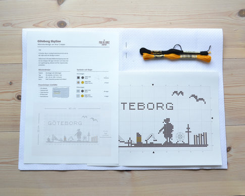Gothenburg skyline -Embroidery kit Aida